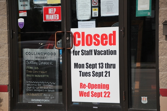 closed signs on business