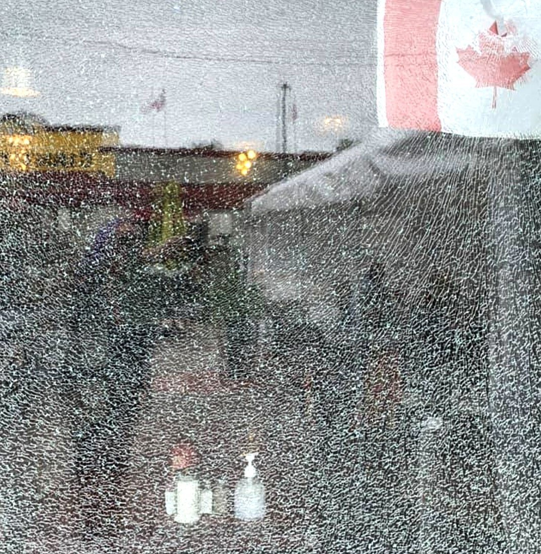 The front window at Zaz Bistro was broken early morning Oct. 13.