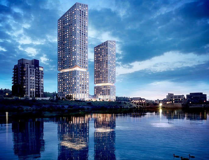 A 28-storey, 146-suite hotel and 37-storey, 253-unit condominium project has been proposed on Water Street North. It's been named Cambridge Mill Hotel and Condominium.