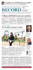 Today's Waterloo Region Record Front Page